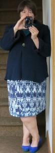 Blaugrüner Sommerrock mit Blauer Walkjacke