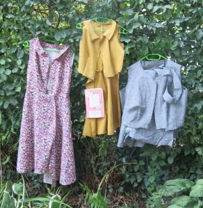 Drei Kleider in der Hecke