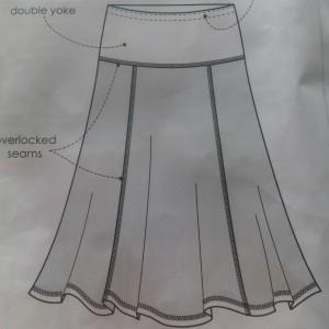 schwarzer Jerseyrock technische Zeichnung