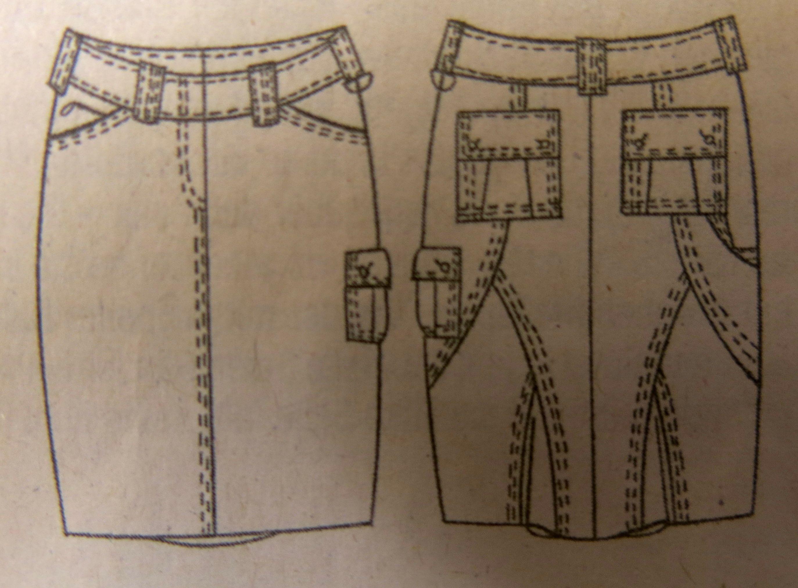 Jeansrock technische Zeichnung